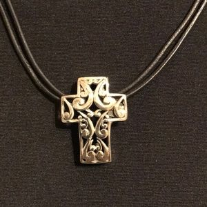 Sterling silver cross on leather